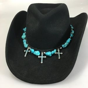 Scala Mens Black Wool Cowboy Hat Turquoise Crosses